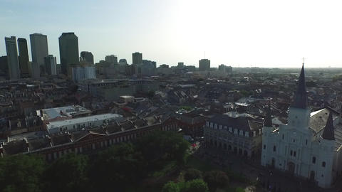 aerial view pull back from Jackson Square New Orleans Footage