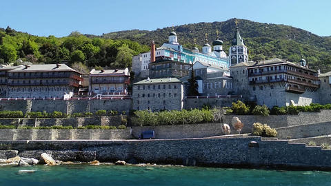 Mount Athos, Chalkidiki Greece - Monastery of St. Panteleimon Footage