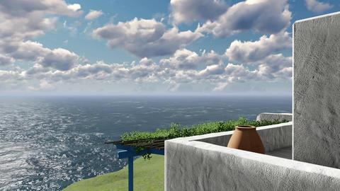 Balcony overlooking the aegean sea 4K Footage