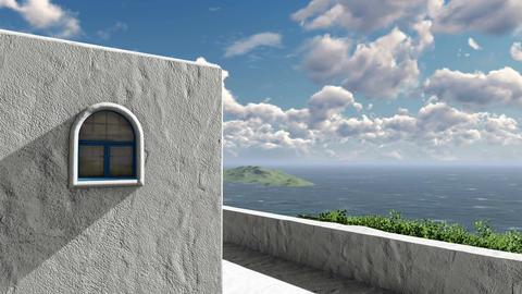 Mediterranean house overlooking the sea 4K Footage