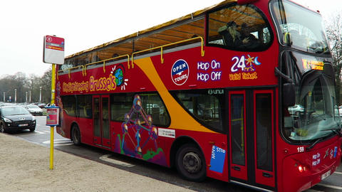 Brussels, Belgium. City Sightseeing Brussels Hop-On Hop-Off Bus stock footage