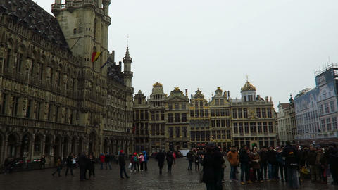 Brussels, Belgium. Grand Place tourists Footage