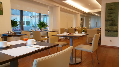 A Hotel Breakfast Room With Empty Tables, In 4K stock footage