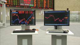 Screen showing stock price in stock market Korea Exchange KOSPI Footage