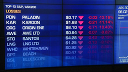 ELECTRONIC BOARD DISPLAYING STOCK GAINS LOSSES AND GRAPH SYDNEY STOCK EXCHANGE Footage