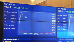 SYDNEY STOCK EXCHANGE ELECTRONIC BOARDS DISPLAYING STOCK GAINS AND LOSSES Footage