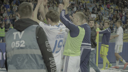 Football players clap the fans after the match Footage