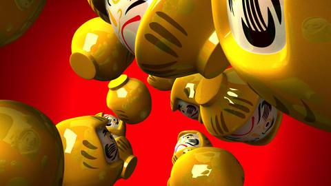 Yellow daruma dolls on red background CG動画