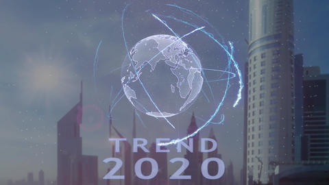 Trend 2020 text with 3d hologram of the planet Earth against the backdrop of the Footage