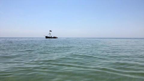 small pleasure boat sailing over the waters of the Black Sea Archivo