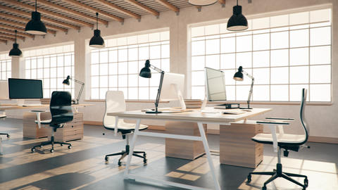 Interior Of An Empty Modern Loft Office open space 4K loopable modern office Animación