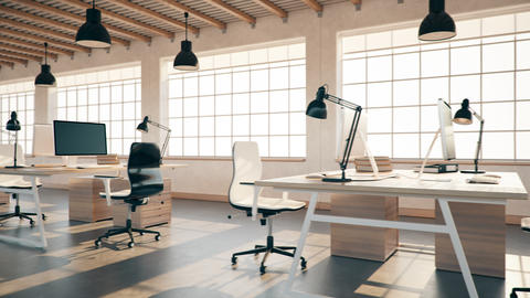 Interior Of An Empty Modern Loft Office open space 4K... Stock Video Footage