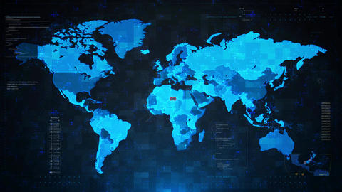 Database Attack Alert Warning Attack on Screen World Map Live Action