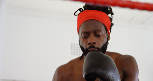 Male boxer practicing boxing in boxing ring 4k Live Action