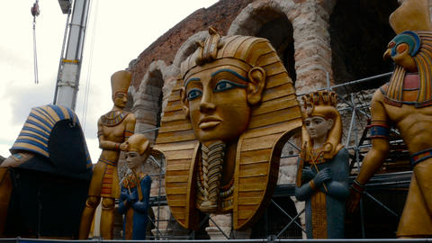 pieces of set design of the Aida opera are transported to the Arena for a show Live Action