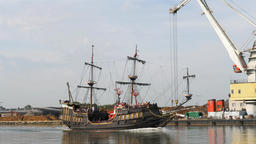 Tour ship on its way from Gdansk to Westerplatte, Poland Live Action