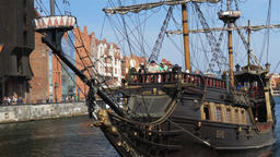 Tour ship on Motlawa river in Gdansk, Poland Live Action