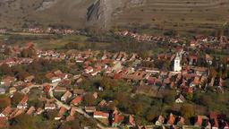 4k aerial drone movie. Flying above Rimetea (Torocko) village in Transylvania, Footage