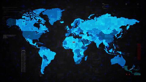 Warning Alert Warning Attack on Screen World Map Live Action
