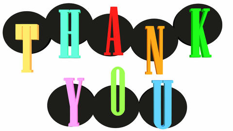 Thank you outro with multicolored letters and black rotating circles on white Animation