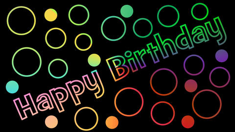 Happy birthday outline letters inscription, color changing effect, multicolored Animation