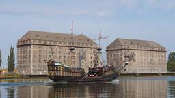 Tour ship stylized on 16 century galleon, Gdansk, Poland Footage
