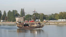 Tour ship in its way from Gdansk to Westerplatte, Poland Live Action