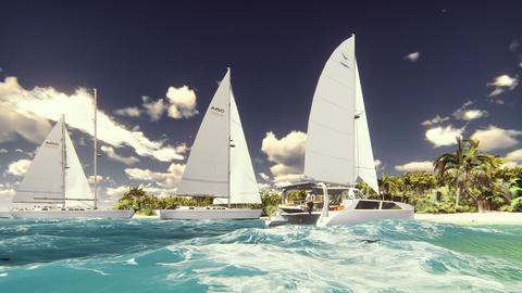 Sailboats on the beach of a desert island in the beautiful blue ocean Animation