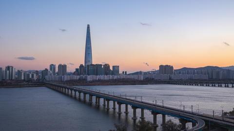 Seoul city skyline at twilight timelapse in Seoul city, South Korea Live Action
