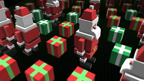 Seamless animation of geometric santa pieces. Christmas funny background Animation