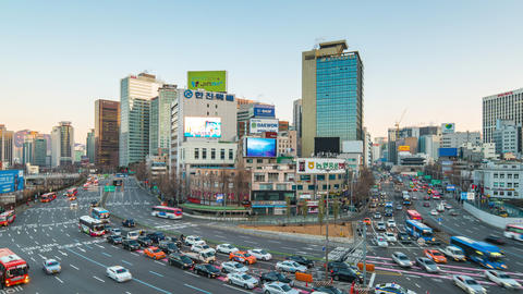 Seoul cityscape time lapse of Traffic in Seoul, South Korea timelapse 4K Live Action