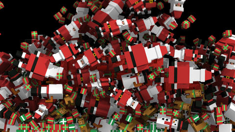 Seamless animation of geometric Christmas elements falling over a pixilated Animation