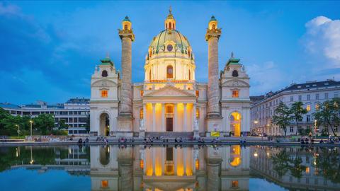 Vienna city, Austria day to night timelapse of Karlskiche Church in Vienna, time Footage