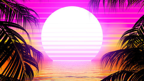 Retro Palm Trees CG動画素材