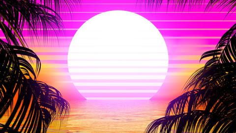 Retro Palm Trees Stock Video Footage