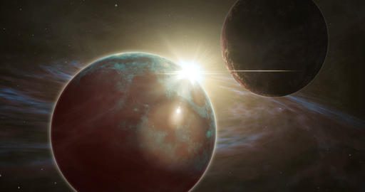 Exoplanet sunrise and distant cosmos exploration Animation