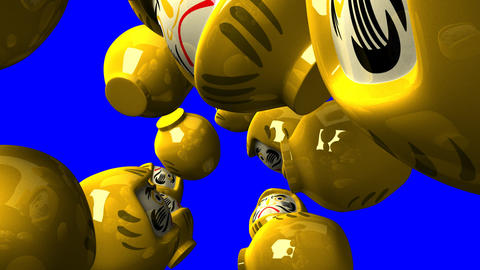 Yellow daruma dolls on blue chroma key Animation