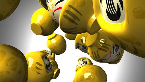 Yellow daruma dolls on white background CG動画