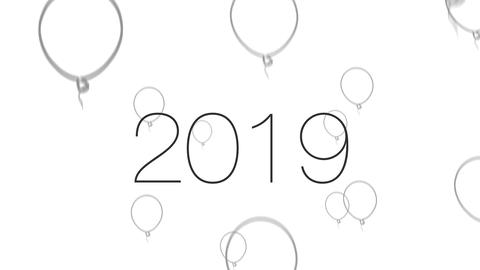 2019 New Year Rising Balloons