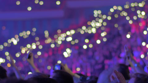 Large audience inside an arena during a concert Footage