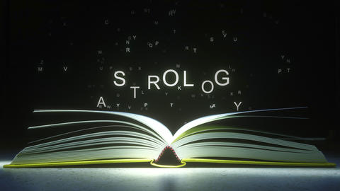 Letters fly off the open book pages to form ASTROLOGY text. 3D animation ライブ動画