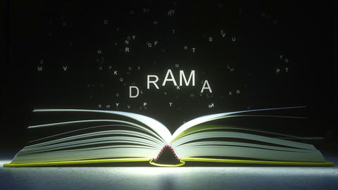 Letters fly off the open book pages to form DRAMA text. 3D animation ライブ動画