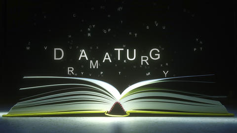 DRAMATURGY text made of glowing letters vaporizing from open book. 3D animation ライブ動画