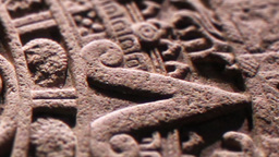 Aztec Sun Stone Carving Close-up Footage