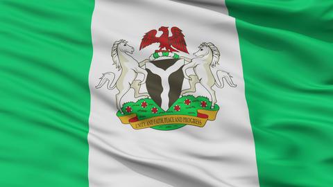 Abuja City Close Up Waving Flag Animation