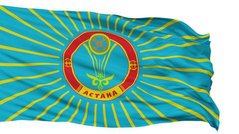 Astana City Isolated Waving Flag Animation