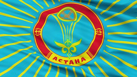 Astana City Close Up Waving Flag Animation