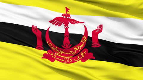 Bandar Seri Begawan City Close Up Waving Flag Animation