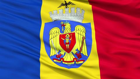 Bucharest City Close Up Waving Flag Animation