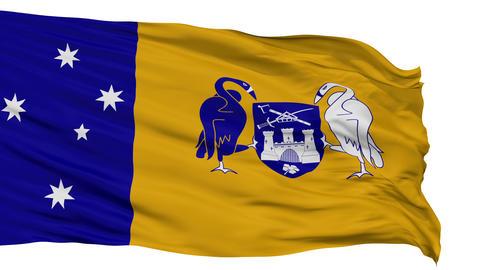 Canberra City Isolated Waving Flag Animation